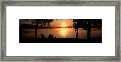 Sun Rising Over Lake Placid, New York Framed Print by Panoramic Images