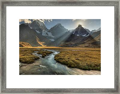 Sun Setting  Behind Jirishanca Peak Framed Print by Colin Monteath