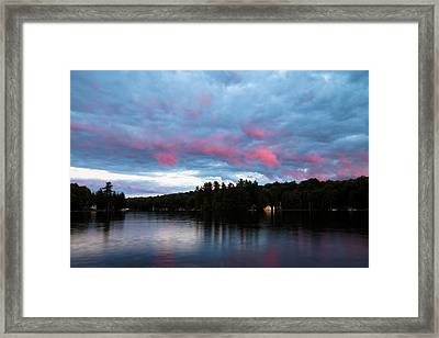 Sun Setting On Old Forge Pond Framed Print by David Patterson