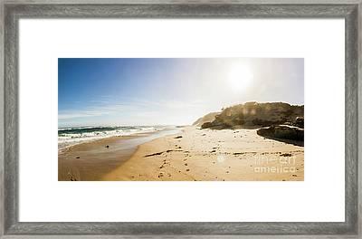 Sun Surf And Empty Beach Sand Framed Print by Jorgo Photography - Wall Art Gallery