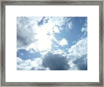 Sun Through Clouds 1 Pacman Framed Print by Linda Meyer
