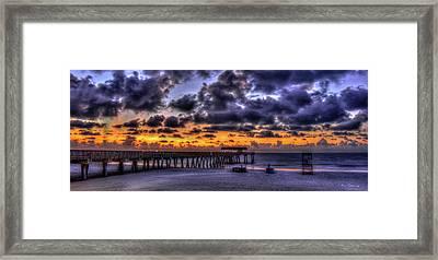 Sun Up Tybee Pier Sunrise Beach Art Framed Print by Reid Callaway