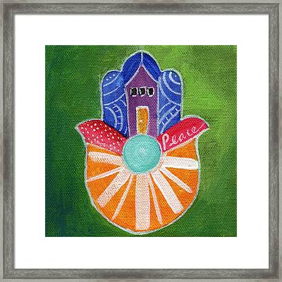 Sunburst Hamsa Framed Print by Linda Woods