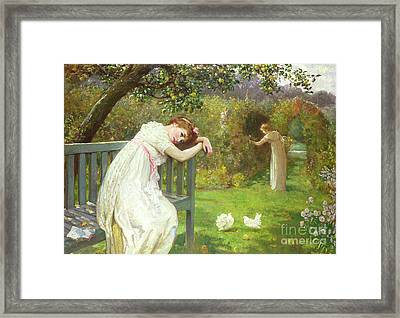 Sunday Afternoon - Ladies In A Garden Framed Print by English School
