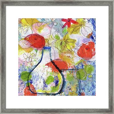 Sunday Market Flowers- Art By Linda Woods Framed Print by Linda Woods