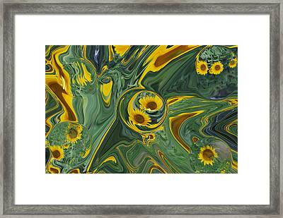 Sunflower Abstract Framed Print by Michelle  BarlondSmith