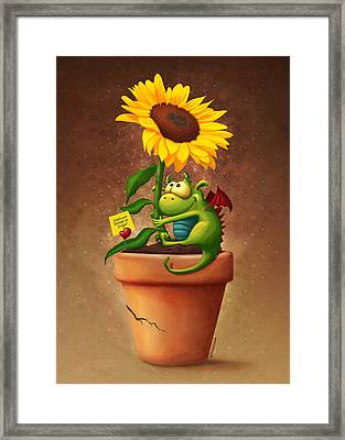 Sunflower And Dragon Framed Print by Tooshtoosh