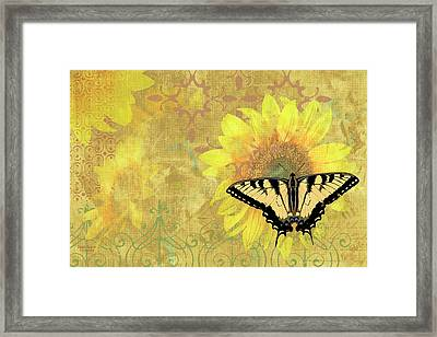 Sunflower Butterfly Yellow Gold Framed Print by JQ Licensing