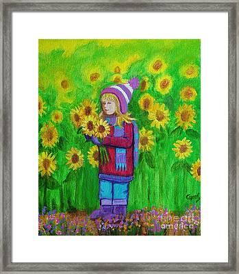 Sunflower Girl Framed Print by Nick Gustafson