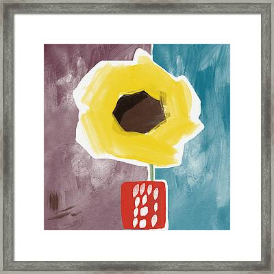 Sunflower In A Small Vase- Art By Linda Woods Framed Print by Linda Woods