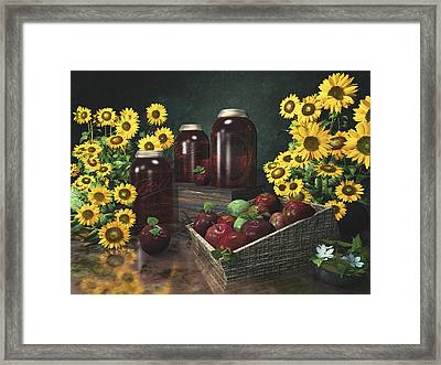 Sunflowers And Apples 2 Framed Print by Mary Almond