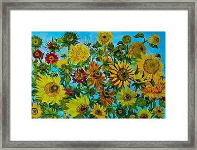 Sunflowers And Bees Framed Print by Elena Pronina
