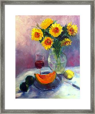 Sunflowers And Cantaloupe Framed Print by Patricia Lyle