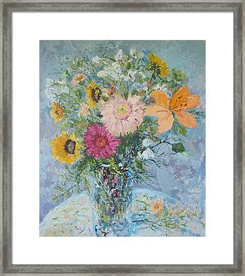 Sunflowers And Gerbera Daisies Framed Print by Elinor Fletcher