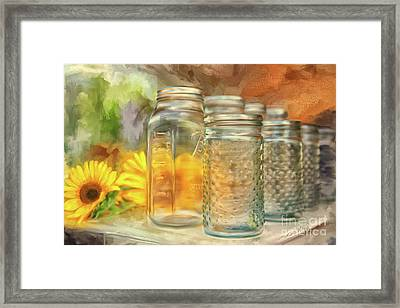 Sunflowers And Jars Framed Print by Lois Bryan