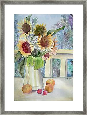 Sunflowers And Peaches Framed Print by Katherine  Berlin