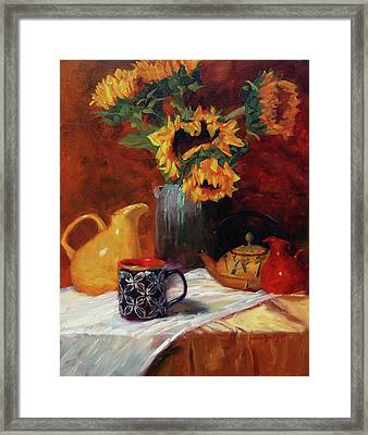 Sunflowers And Undersea Vase Framed Print by Jeanne Young