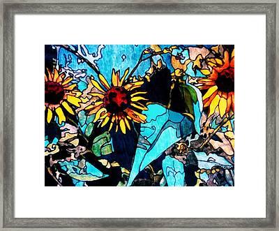Sunflowers Blue Framed Print by Tom Herrin