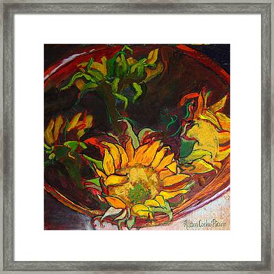 Sunflowers In Bowl Framed Print by Allison Coelho Picone