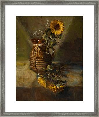 Sunflowers In Clay Pitcher Framed Print by Sandra Quintus