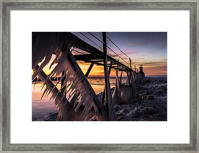 Sunlit Icicles  Framed Print by Jackie Novak