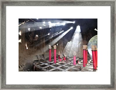 Sunlit Incense Urn Framed Print by Andy Smy