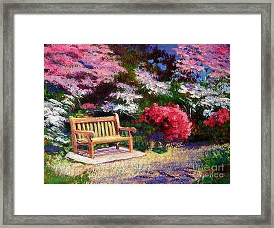 Sunny Bench Plein Aire Framed Print by David Lloyd Glover