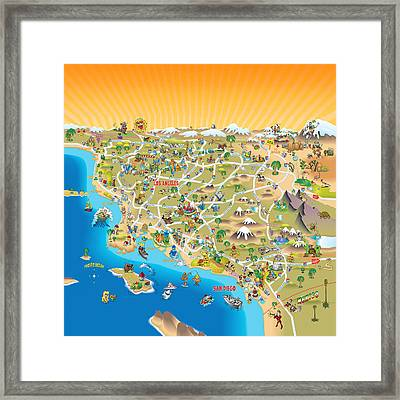 Sunny Cartoon Map Of Southern California Framed Print by Dave  Stephens