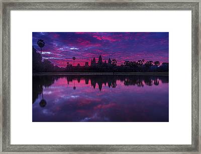 Sunrise Angkor Wat Reflection Framed Print by Mike Reid