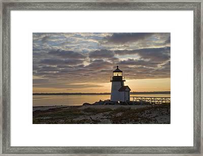 Sunrise At Brant Point Nantucket Framed Print by Henry Krauzyk