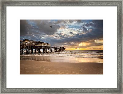 Sunrise At Cocoa Beach Pier Framed Print by Will Tan