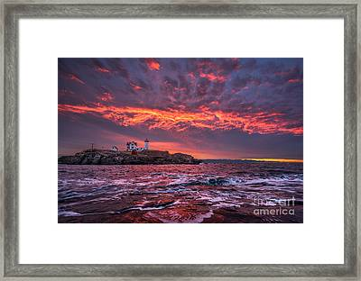 Sunrise At Nubble Lighthouse Framed Print by Benjamin Williamson