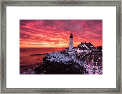 Sunrise At Portland Head Lighthouse Framed Print by Benjamin Williamson