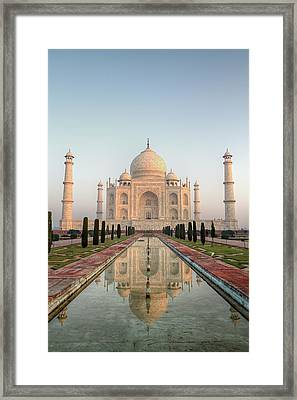Sunrise At Taj Framed Print by Pierre Turtaut
