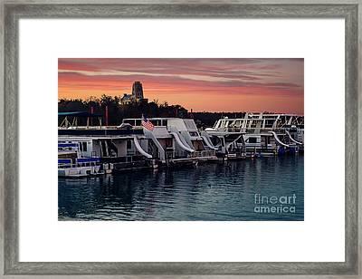 Lake Murray Sunrise At The Marina Framed Print by Tamyra Ayles