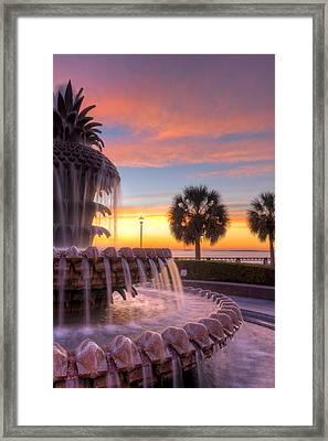 Sunrise Charleston Pineapple Fountain  Framed Print by Dustin K Ryan