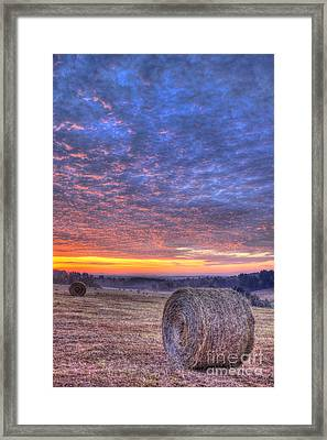 Sunrise Hayfield And A View Walker Church Road Framed Print by Reid Callaway