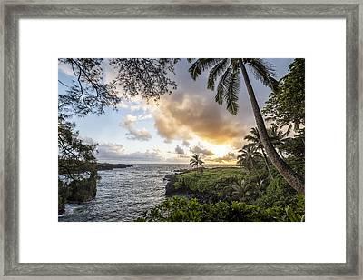 Sunrise In Hana Framed Print by Jon Glaser