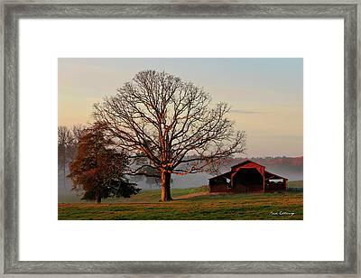 Sunrise Oak Red Barn Misty Morning Framed Print by Reid Callaway
