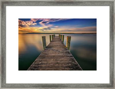 Sunrise On The Dock By The Peconic River Framed Print by Rick Berk