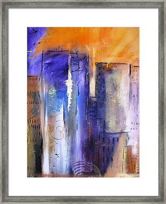 Sunrise On Twin Towers Framed Print by Gary Smith