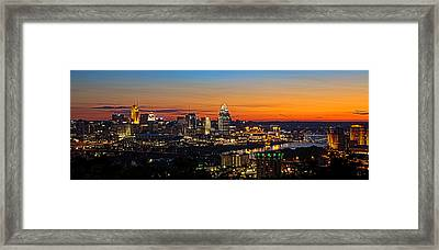 Sunrise Over Cincinnati Framed Print by Keith Allen