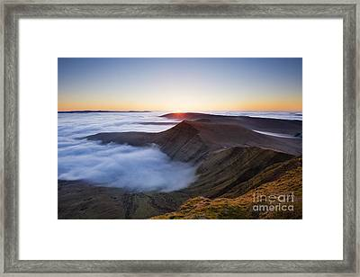 Sunrise Over Cribyn, From Pen Y Fan. Brecon Beacons, Wales Framed Print by Justin Foulkes