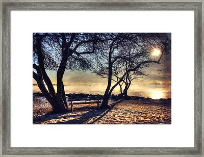 Sunrise Over Whaleback Lighthouse - New Castle, Nh Framed Print by Joann Vitali