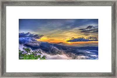 Sunrise Pink Beds Overlook Blue Ridge Parkway Framed Print by Reid Callaway