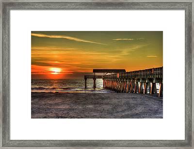 Sunrise Reflections Tybee Island Pier Art Framed Print by Reid Callaway