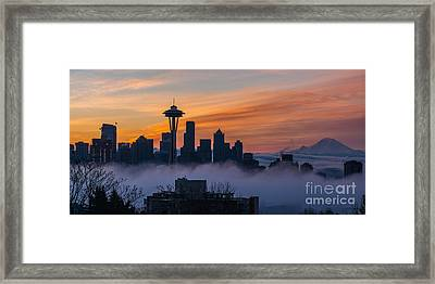Sunrise Seattle Skyline Above The Fog Framed Print by Mike Reid