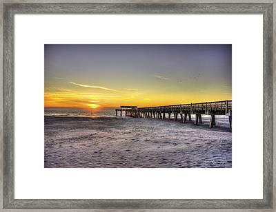 Sunrise Tybee Island Pier Framed Print by Reid Callaway