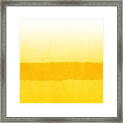 Sunrise- Yellow Abstract Art By Linda Woods Framed Print by Linda Woods