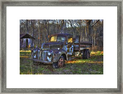 Sunset 1947 Ford Stakebed Pickup Truck 2 Framed Print by Reid Callaway
